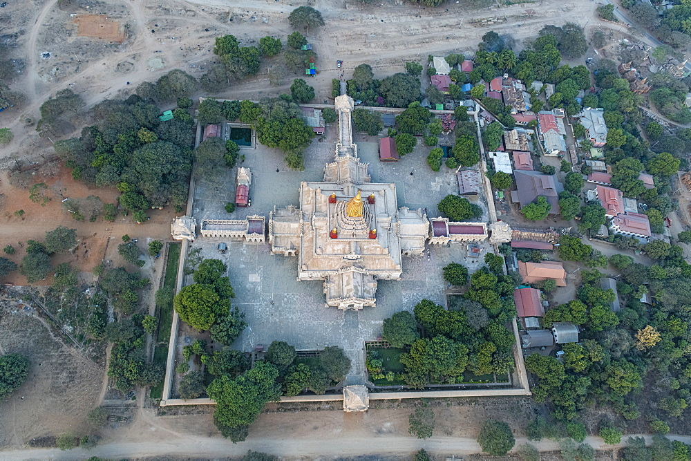 Aerial of the Ananda Temple, Bagan (Pagan), Myanmar (Burma), Asia