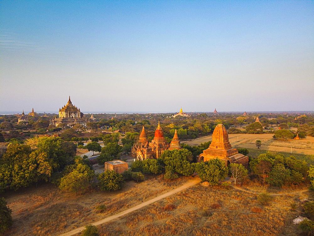 Aerial of the temples of Bagan (Pagan), Myanmar (Burma), Asia