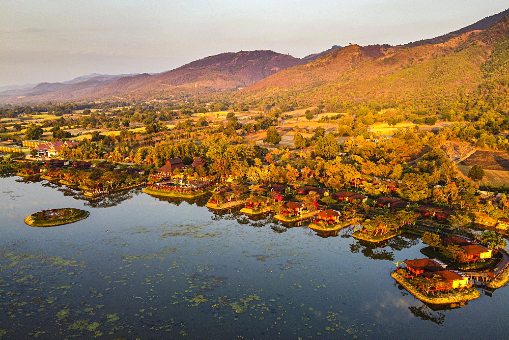 Aerial by drone of the overwater bungalows at the shores of Inle Lake, Shan state, Myanmar (Burma), Asia