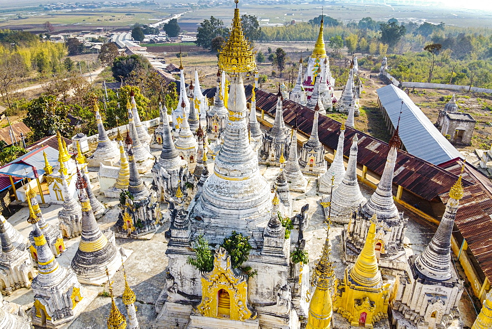 Aerial view by drone of pagodas, Inle Lake, Shan state, Myanmar (Burma), Asia