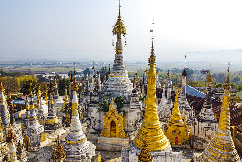 View by drone of pagodas, Inle Lake, Shan state, Myanmar (Burma), Asia