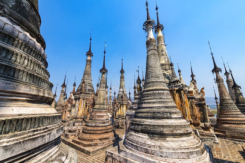 Many spires like pagodas, Tharkong Pagoda, southern Inle Lake, Shan state, Myanmar (Burma), Asia