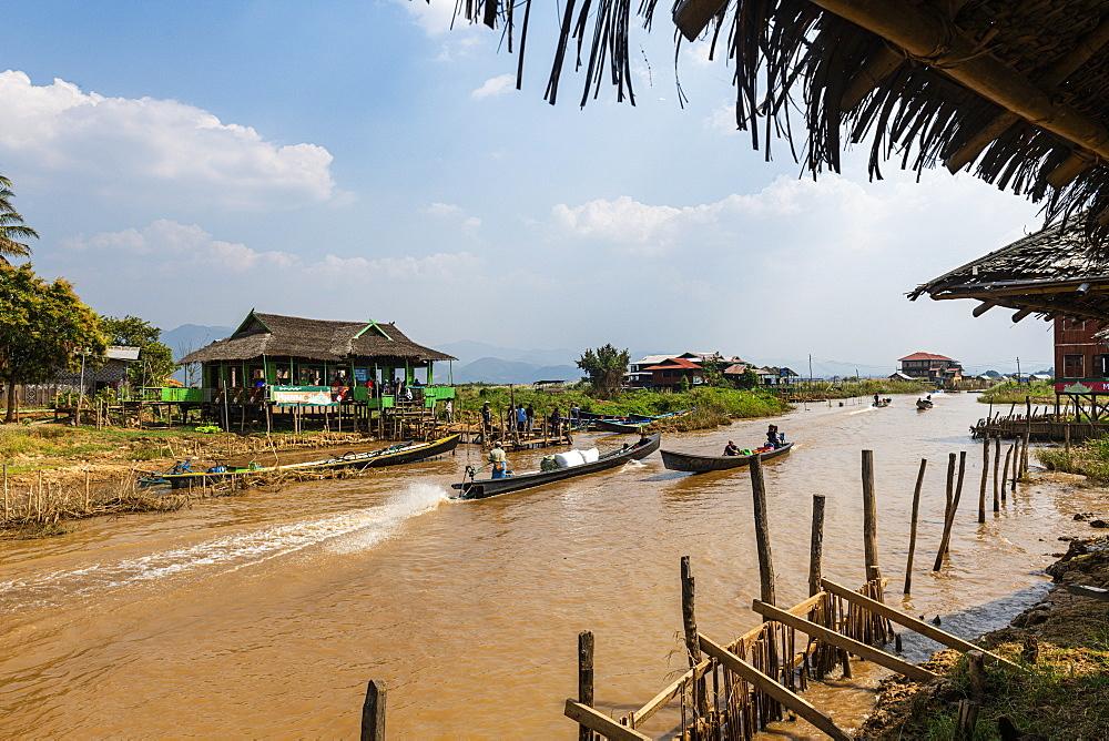 Stilt village on Inle Lake, Shan state, Myanmar (Burma), Asia