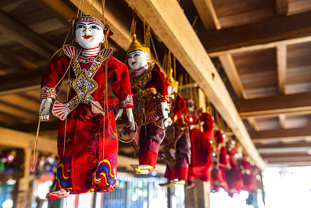 Marionettes for sale, Inle Lake, Shan state, Myanmar (Burma), Asia