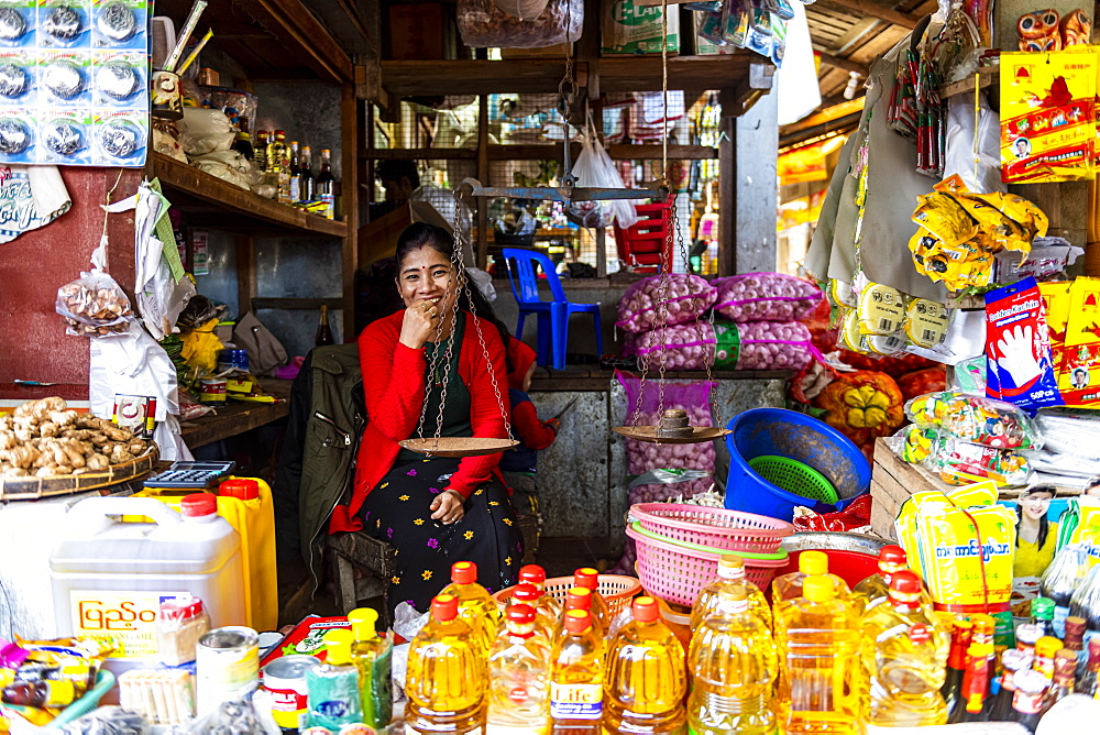 Vegetable market, Myitkyina, Kachin state, Myanmar (Burma), Asia