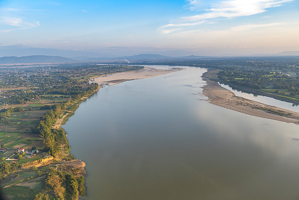 Aerial of the Irrawaddy River in Myitkyina, Kachin state, Myanmar (Burma), Asia