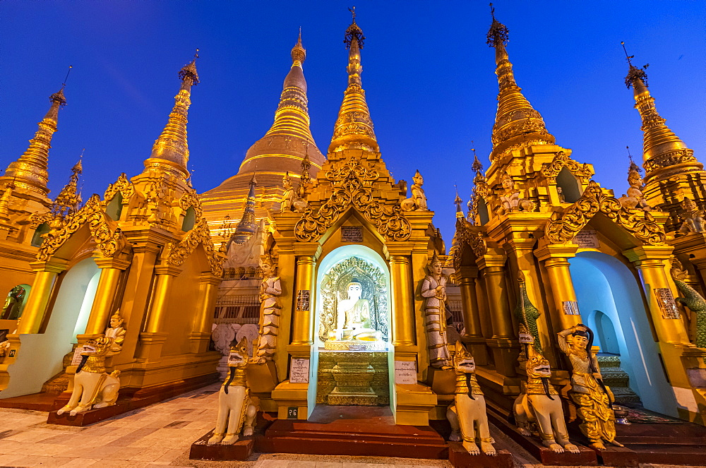 Shwedagon pagoda after sunset, Yangon (Rangoon), Myanmar (Burma), Asia