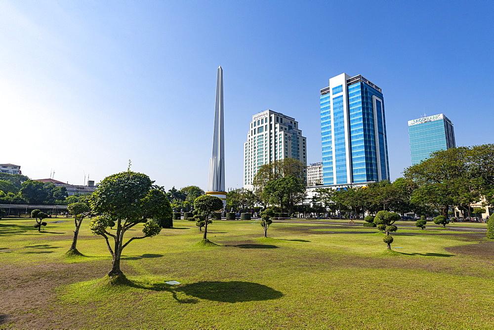 Obelisk in the Mahabandoola Garden, downtown Yangon (Rangoon), Myanmar (Burma), Asia