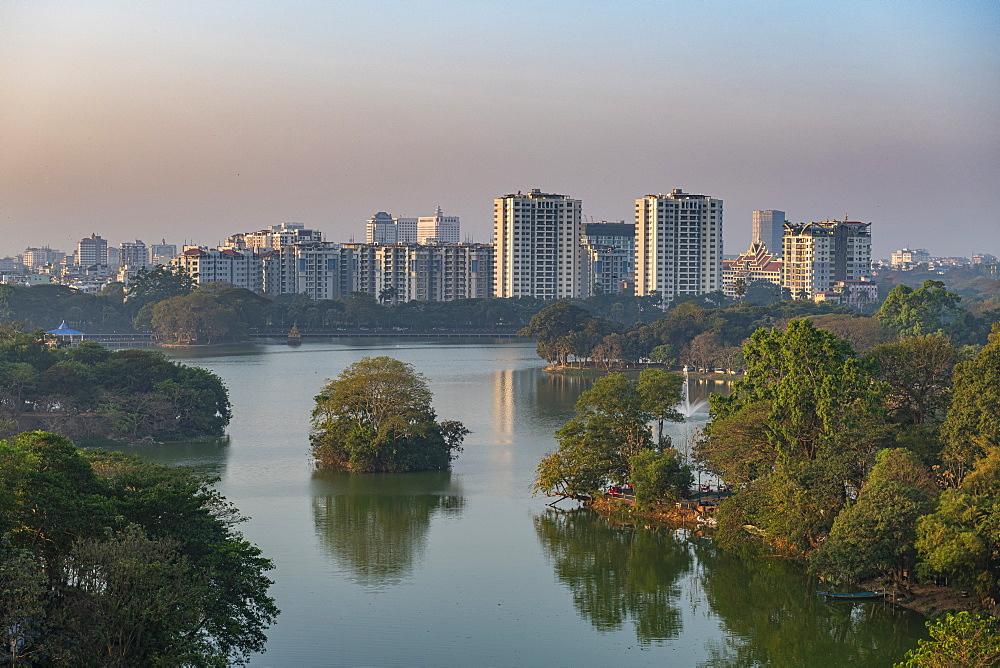 View over Kandawgyi Lake, Yangon (Rangoon), Myanmar (Burma), Asia