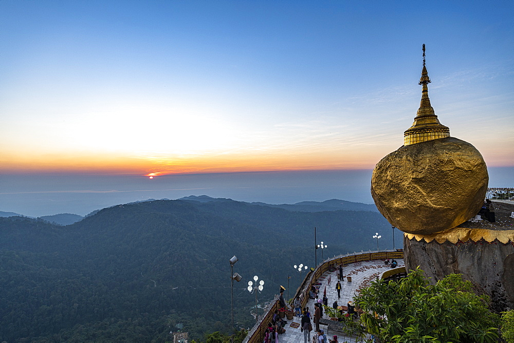 Kyaiktiyo Pagoda (Golden Rock) at sunset, Mon state, Myanmar (Burma), Asia