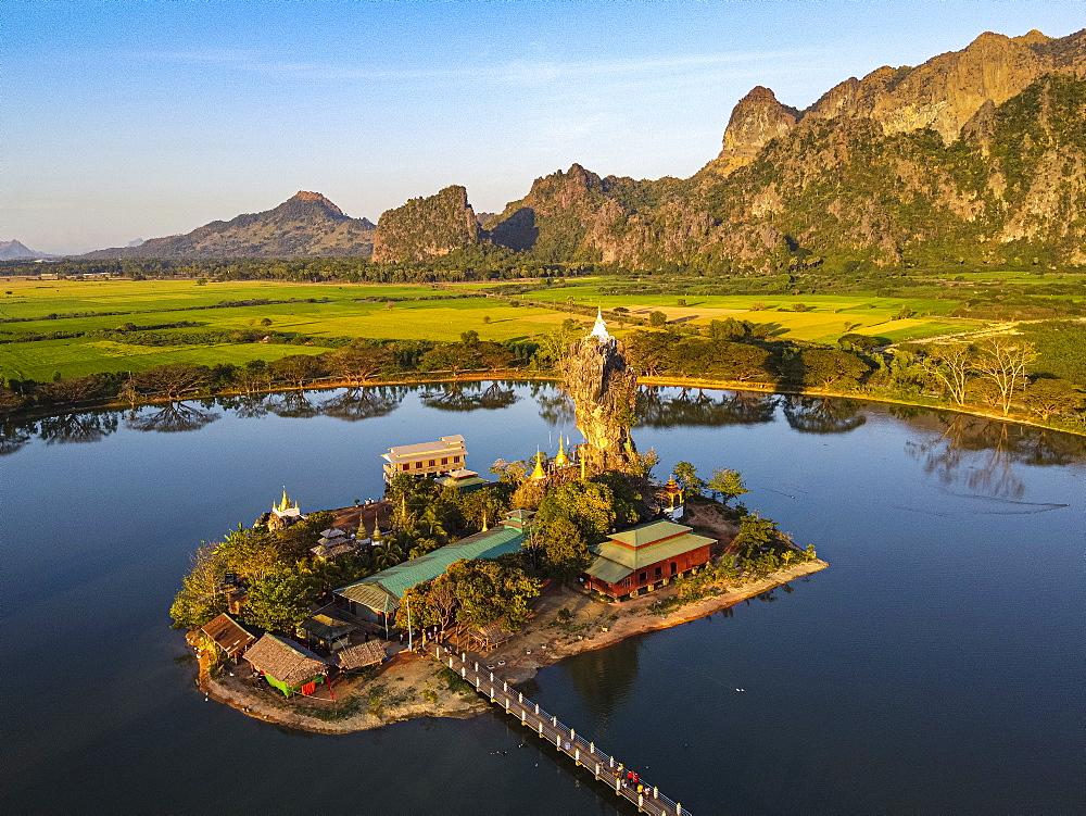 Aerial of the Kyauk Kalap pagoda, Hpa-An, Kayin state, Myanmar (Burma), Asia
