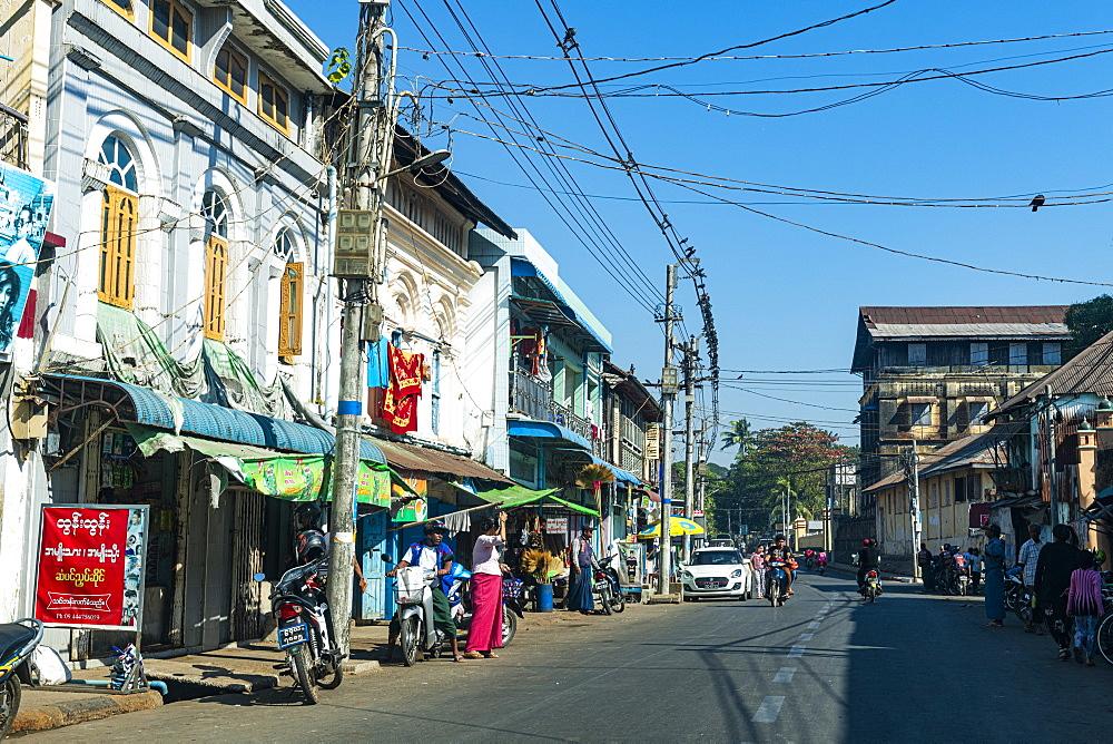 Colonial houses in Mawlamyine, Mon state, Myanmar (Burma), Asia