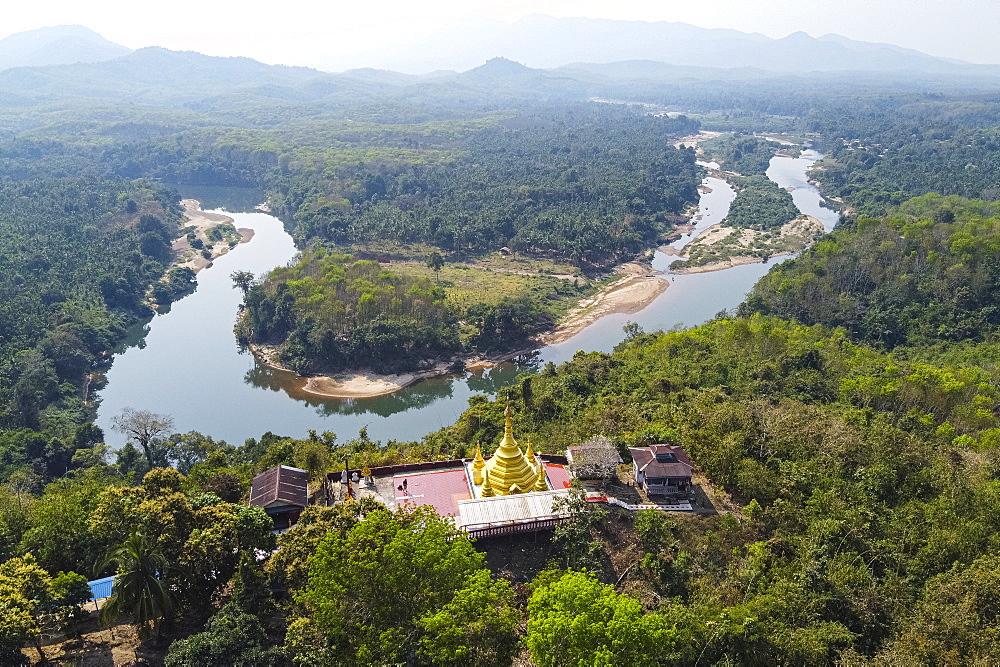 Aerial by drone of the Shwemawdaw Paya and the Ye River, Kyaing Ywar near Ye, Mon state, Myanmar (Burma), Asia