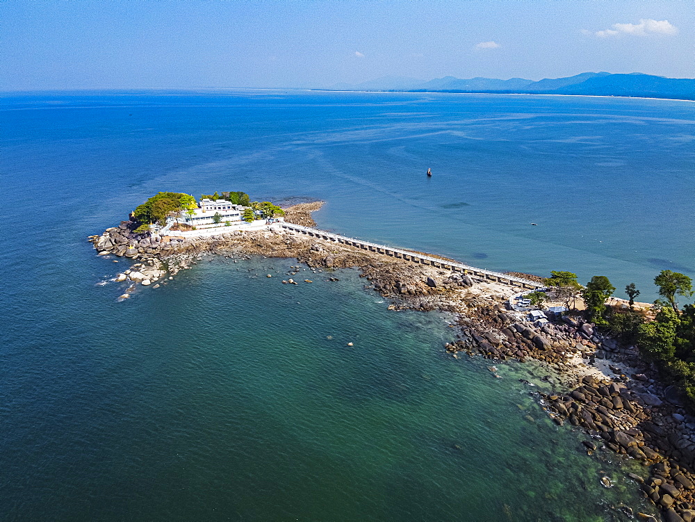 Aerial by drone of the Myaw Yit Pagoda in the ocean near Dawei, Mon state, Myanmar (Burma), Asia