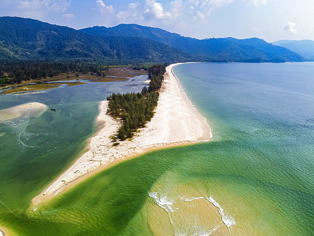 Aerial by drone of Tizit beach, Dawei, Mon state, Myanmar (Burma), Asia