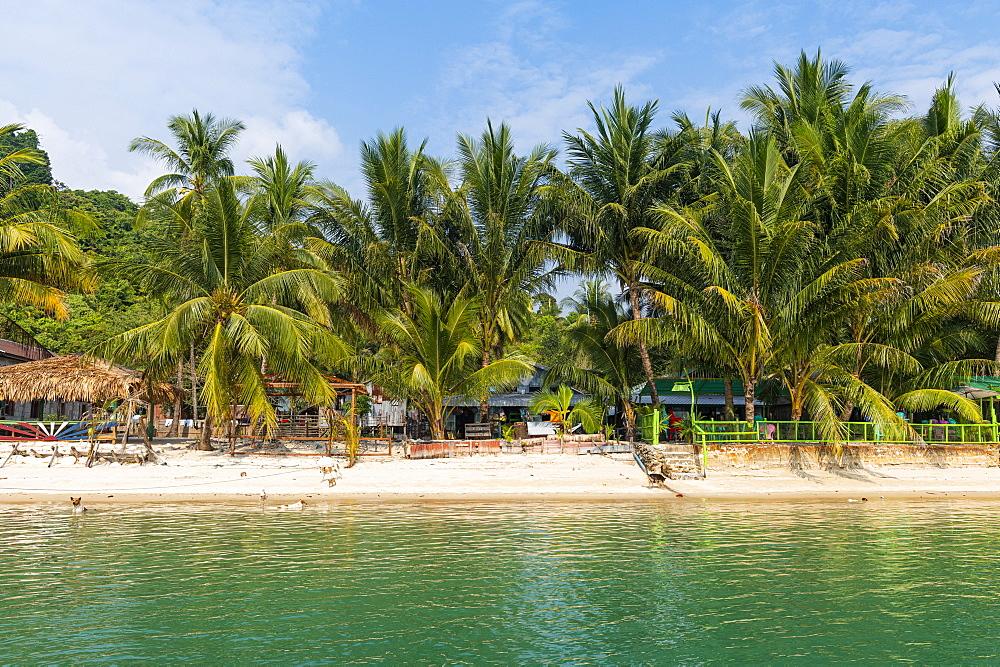 Moken, sea gypsy village on a white sand beach, Mergui (Myeik) Archipelago, Myanmar (Burma), Asia