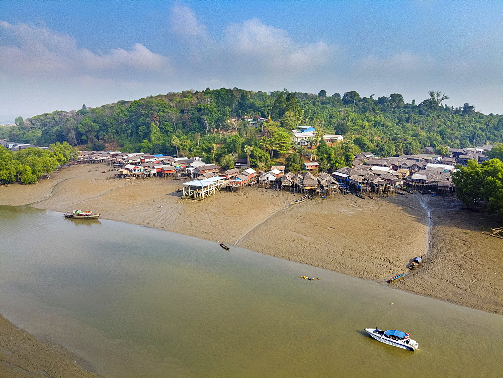 Aerial by drone of Fishing village on stilts in the mangroves of the Mergui (Myeik) Archipelago, Myanmar (Burma), Asia