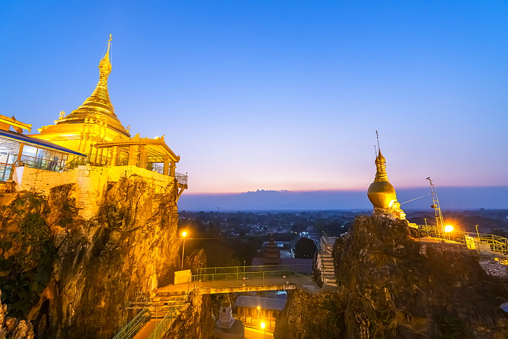 Taung Kew Paya built on rocks, after sunset, Loikaw, Kayah state, Myanmar (Burma), Asia