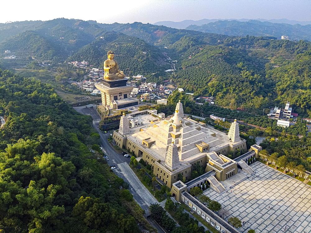 Aerial of Fo Guang Shan Monastery, Fo Guang Mountain (Shan), Taiwan, Asia