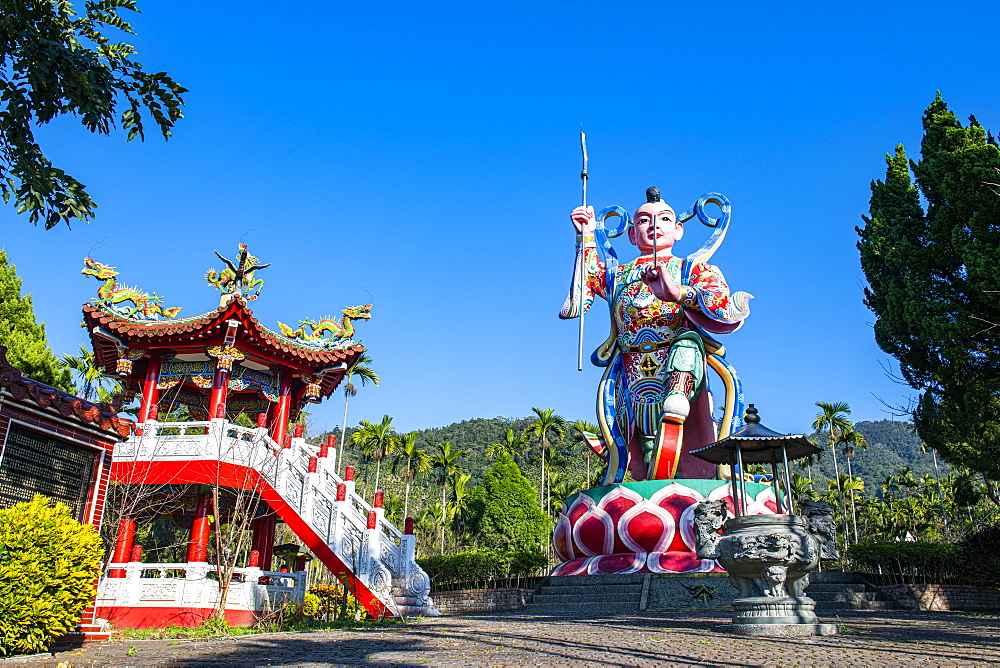Huge statue at a buddhist temple, Sun Moon Lake National Scenic Area, Nantou county, Taiwan