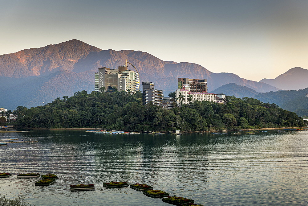 Sunrise over Sun Moon Lake, National Scenic Area, Nantou county, Taiwan