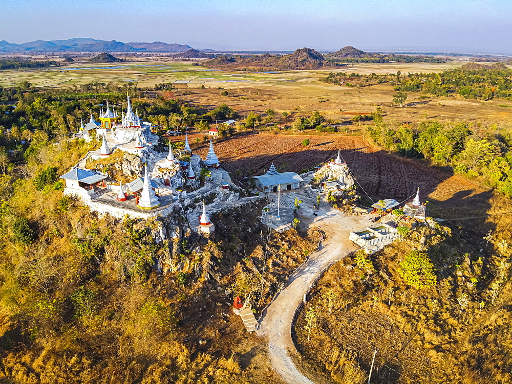 Aerial of a stupa near Panpet, Loikaw area, Kayah state, Myanmar (drone)