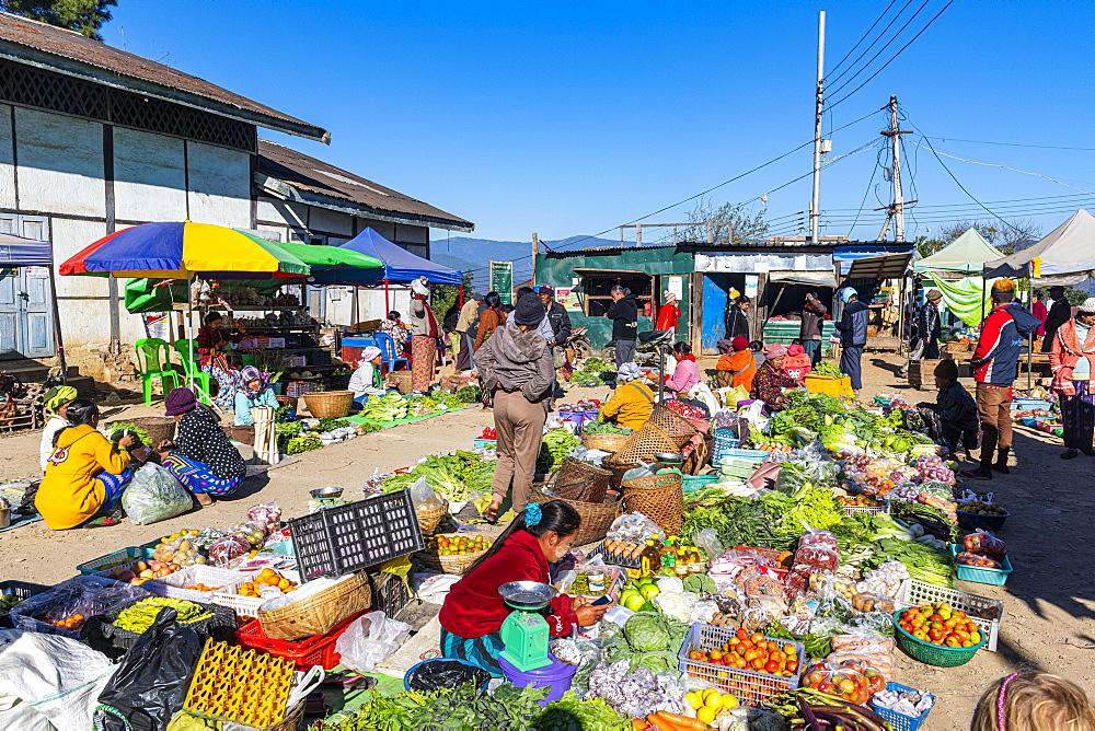 Open air market of Mindat, Chin state, Myanmar (Burma), Asia