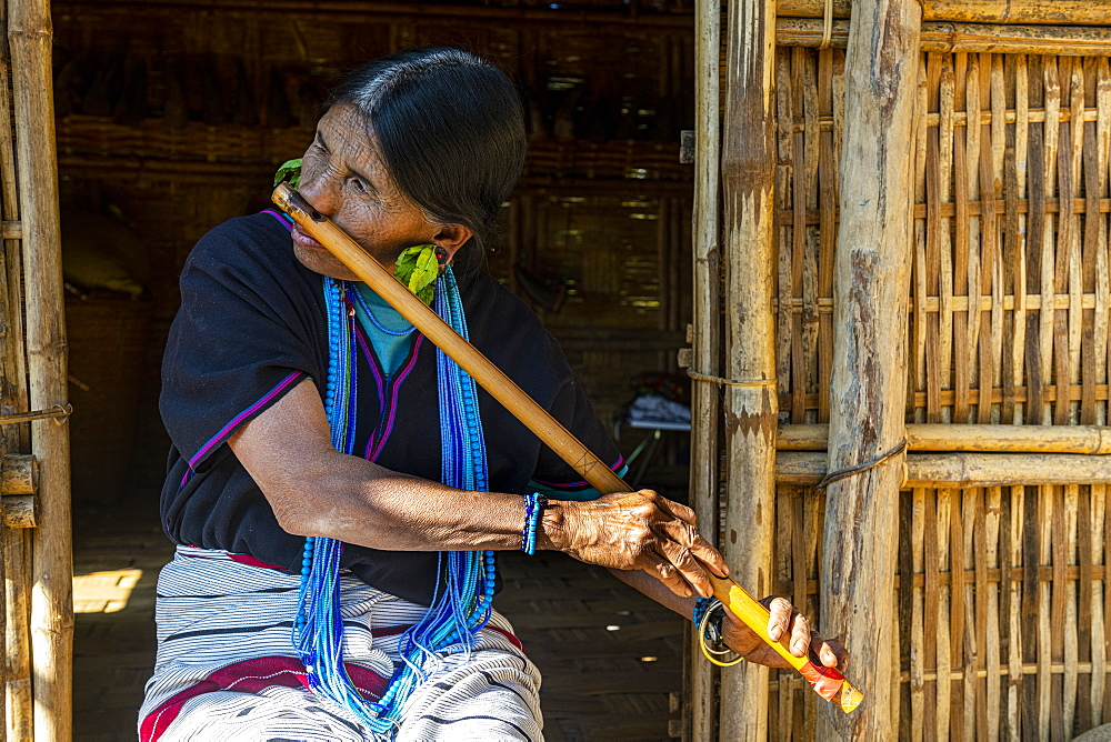 Chin woman with spiderweb tattoo blowing a flute with her nose, Kanpelet, Chin state, Myanmar (Burma), Asia
