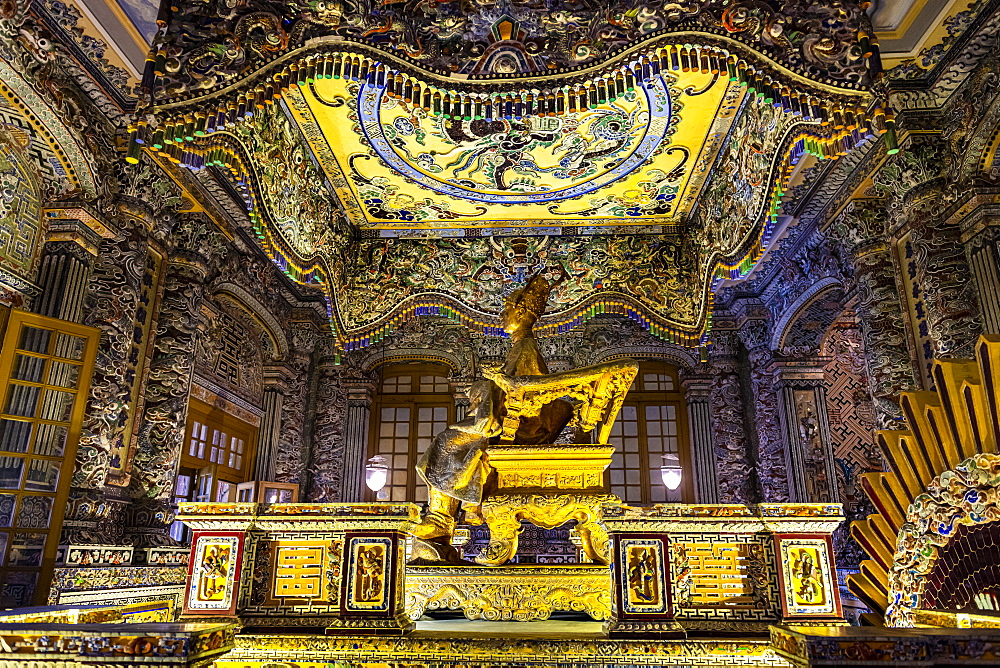 Stunning decoration inside the Tomb of Khai Dinh, Hue, UNESCO World Heritage Site, Vietnam, Indochina, Southeast Asia, Asia