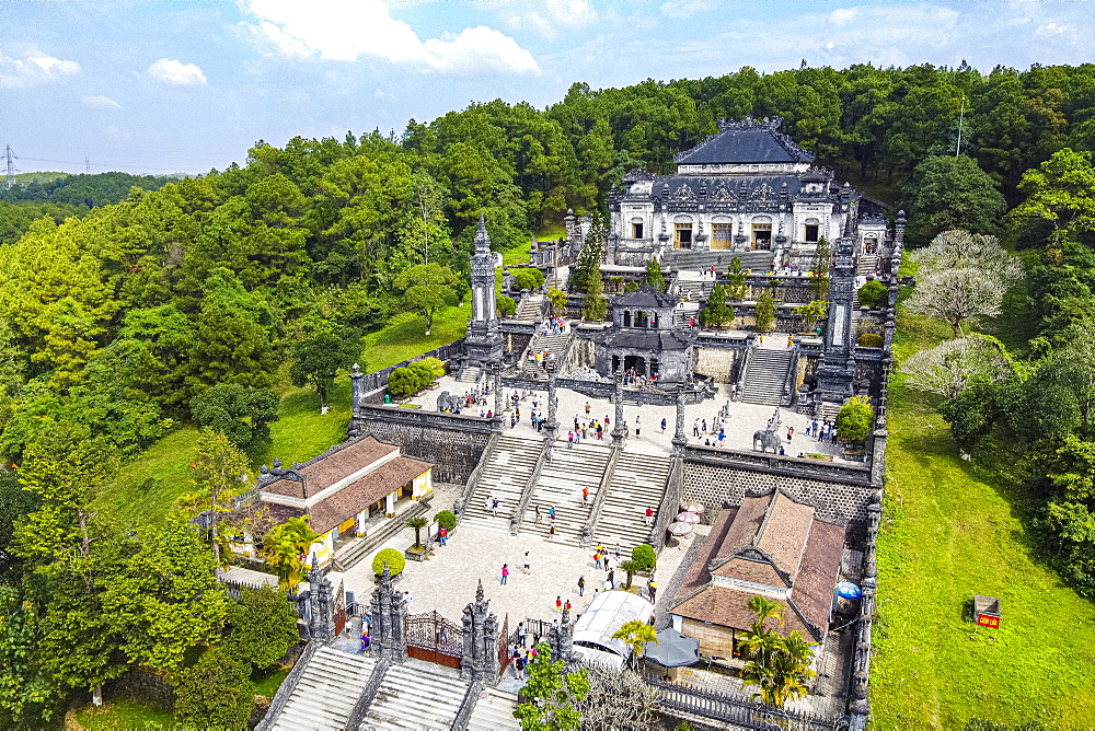 Aerial of the Tomb of Khai Dinh, Hue, UNESCO World Heritage Site, Vietnam, Indochina, Southeast Asia, Asia
