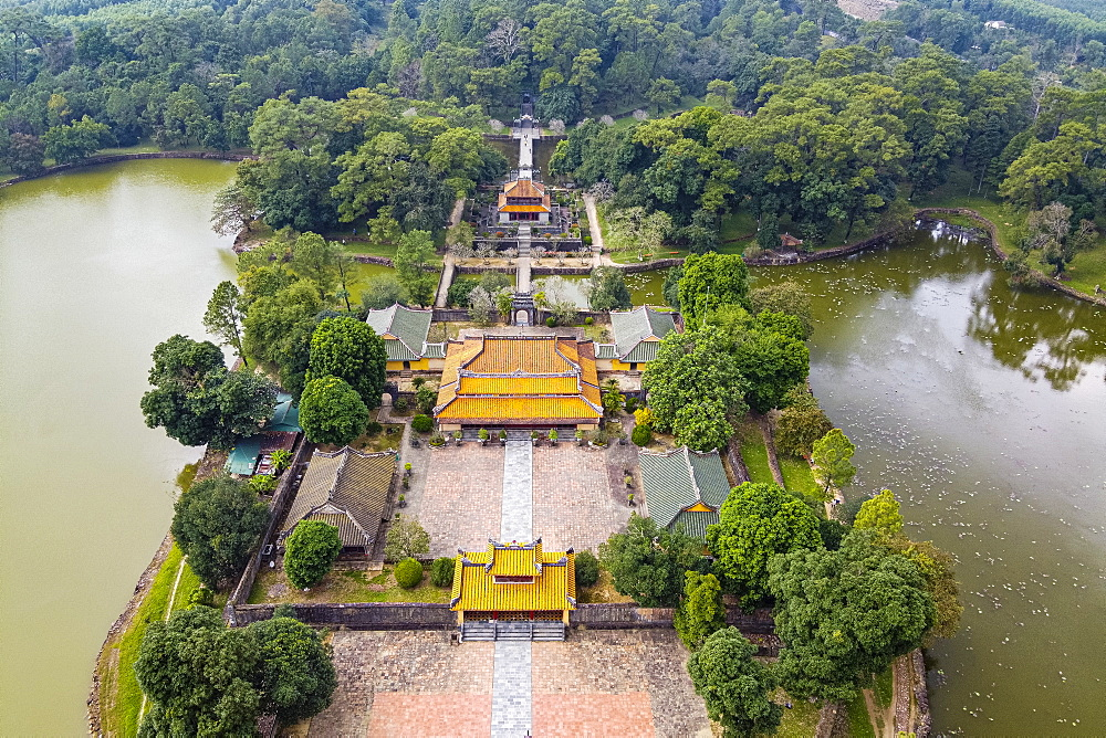 Aerial of Minh Mang Tomb, Hue, UNESCO World Heritage Site, Vietnam, Indochina, Southeast Asia, Asia