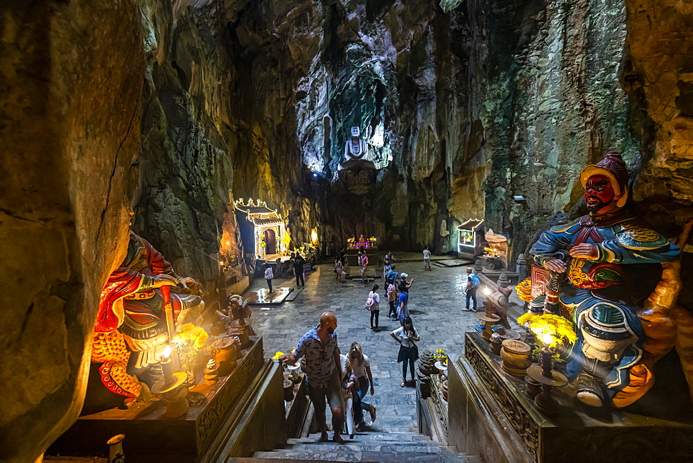 Soldier statues in front of the entrance to a cave in the Marble Mountains, Da Nang, Vietnam, Indochina, Southeast Asia, Asia