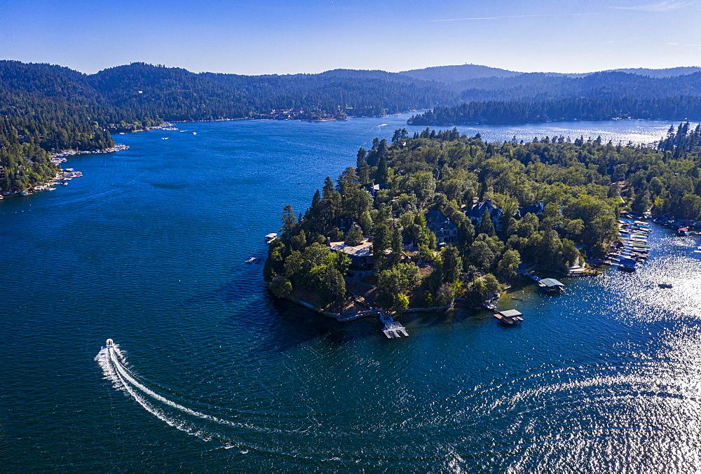 Aerial of Lake Arrowhead, California, United States of America, North America