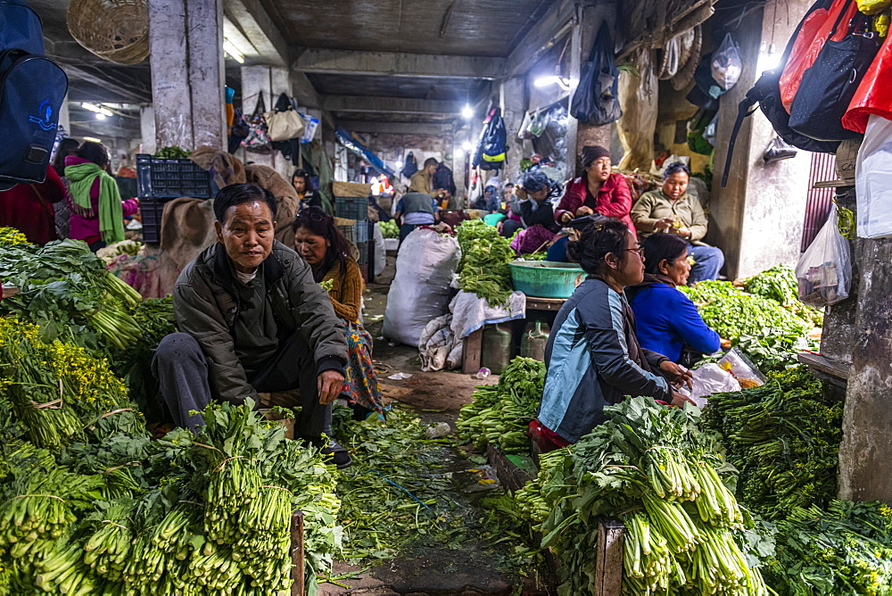 Market women in the Market in Aizawl, Mizoram, India, Asia