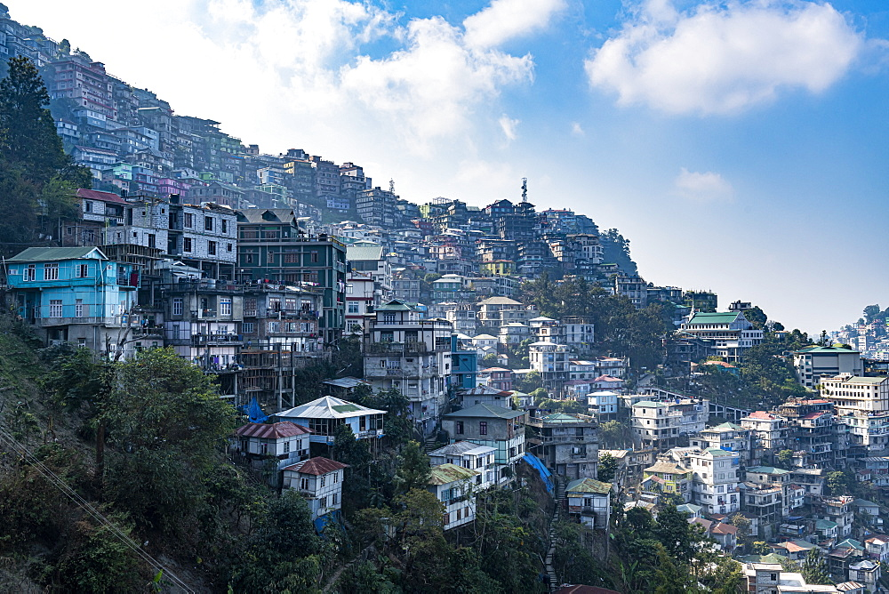 View over the houses perched on the hills in Aizawl, Mizoram, India, Asia