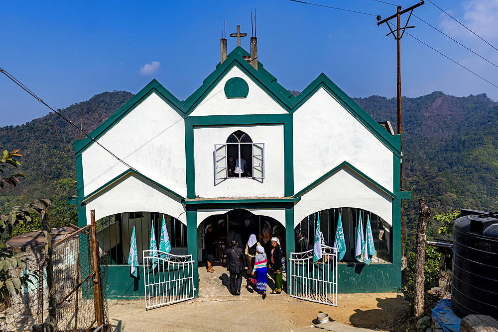 Sunday church service in Lungleng, Mizoram, India, Asia