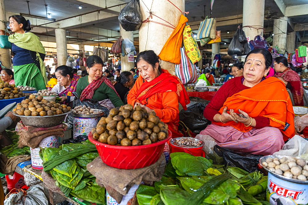 Women vendors selling vegetables, Ima Keithel women's market, Imphal, Manipur, India, Asia