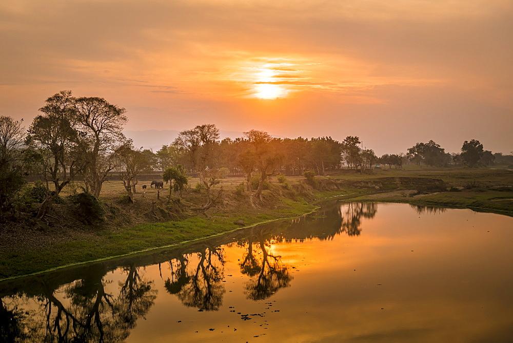 Sunset over the Brahmaputra River, Kaziranga National Park, UNESCO World Heritage Site, Assam, India, Asia