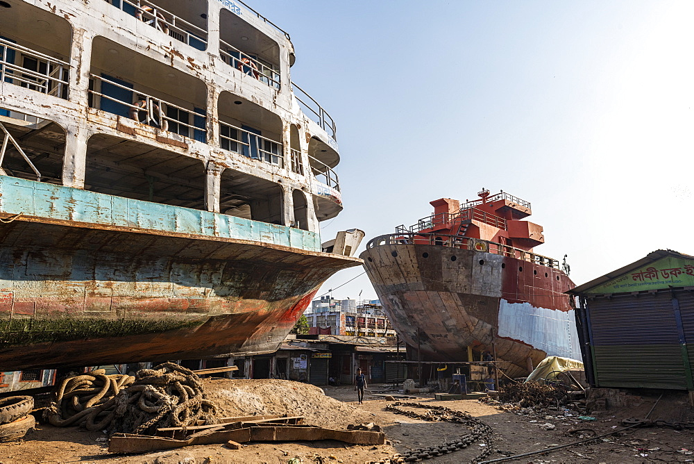 Ships getting break down in the shipwreck cemetery, Port of Dhaka, Bangladesh