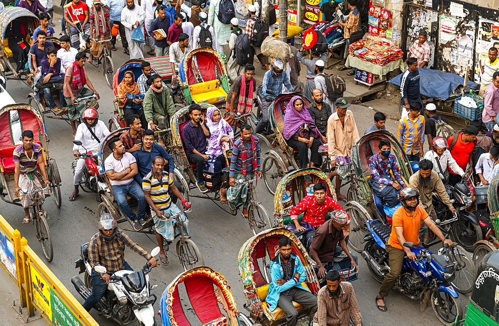 Overcrowded completely with rickshaws, a street in the center of Dhaka, Bangladesh, Asia