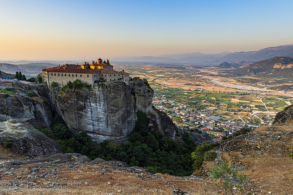 Holy Monastery of St. Stephen at sunset, Unesco world heritage site Meteora monateries, Greece - 1184-4439
