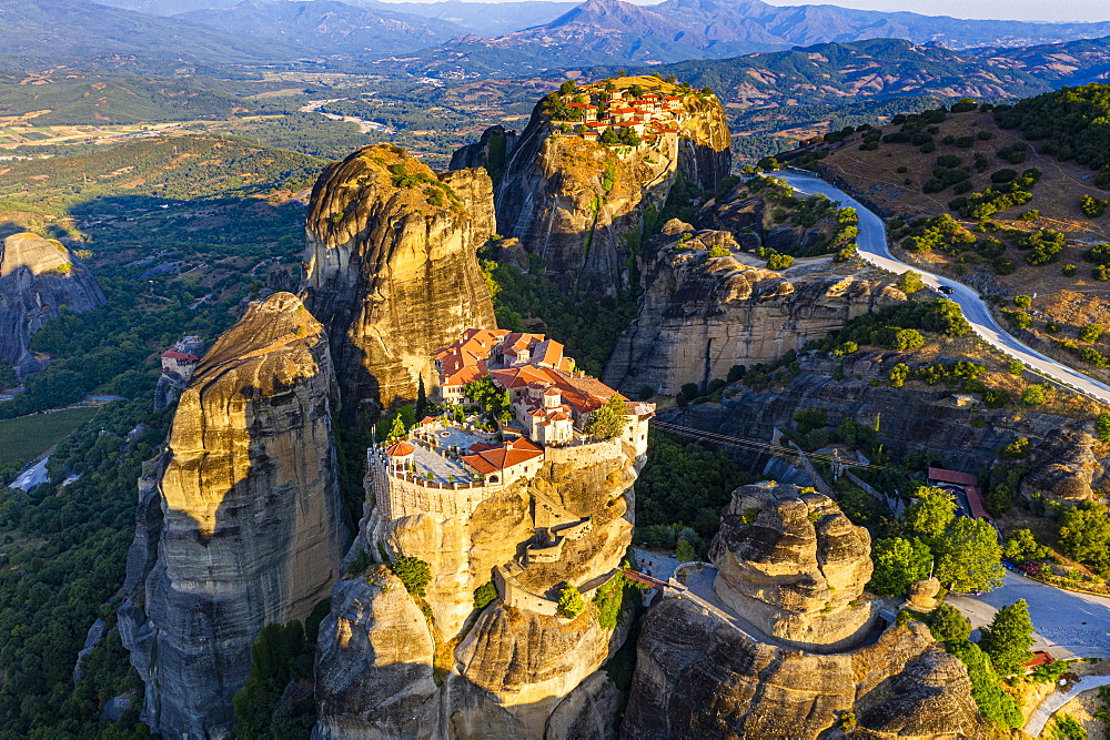 Aerial of the Holy Monastery of Varlaam at sunrise, Unesco world heritage site Meteora monateries, Greece (drone) - 1184-4445