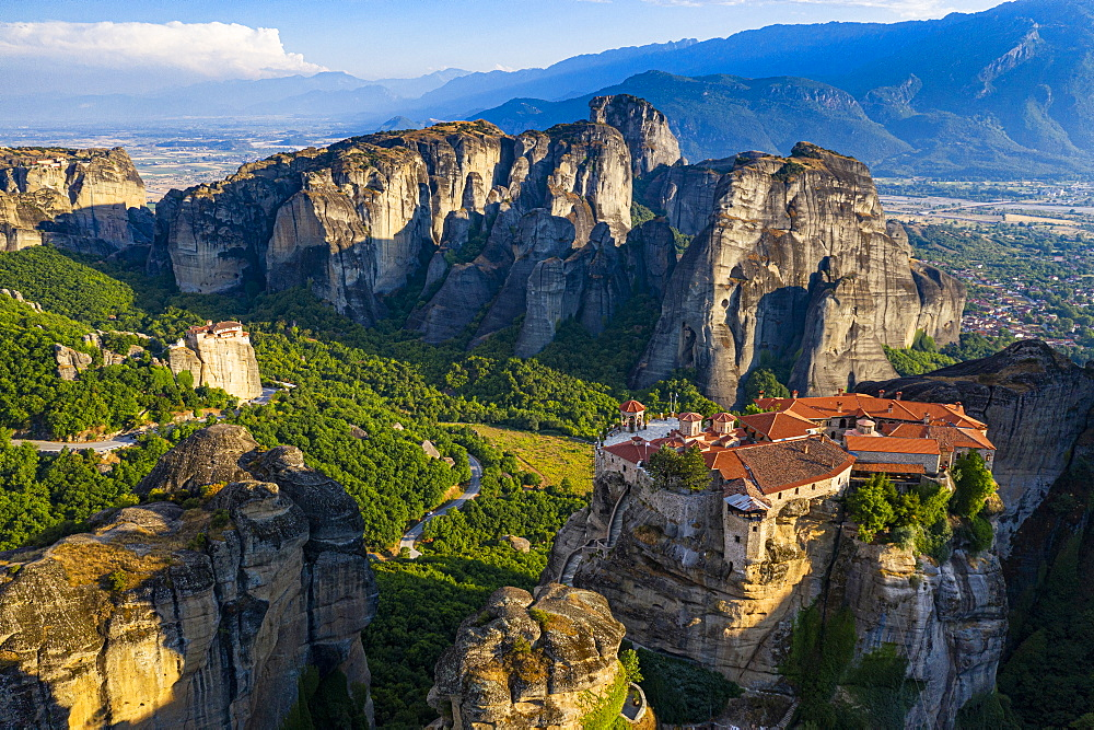 Aerial of the Holy Monastery of Varlaam at sunrise, Unesco world heritage site Meteora monateries, Greece (drone) - 1184-4446