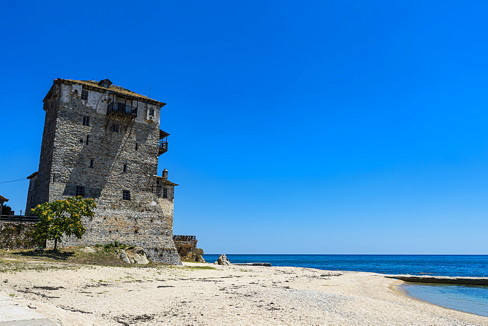 The tower of Prosphorion, Ouranopoli, Unesco world heritage site Mount Athos, Greece - 1184-4447