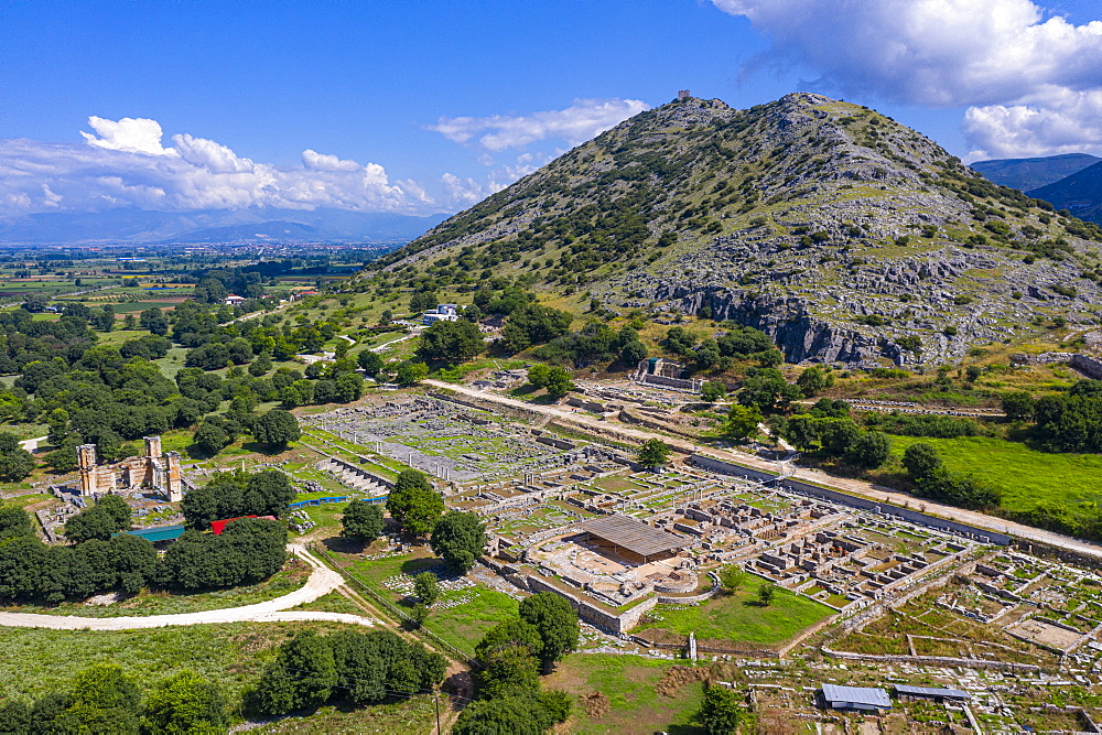Aerial of the Unesco world heritage site Philippi, Macedonia, Greece (drone) - 1184-4470