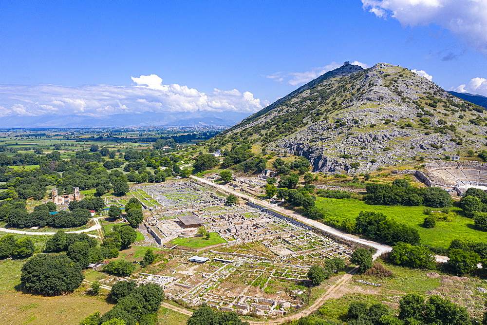 Aerial of the Unesco world heritage site Philippi, Macedonia, Greece (drone) - 1184-4473