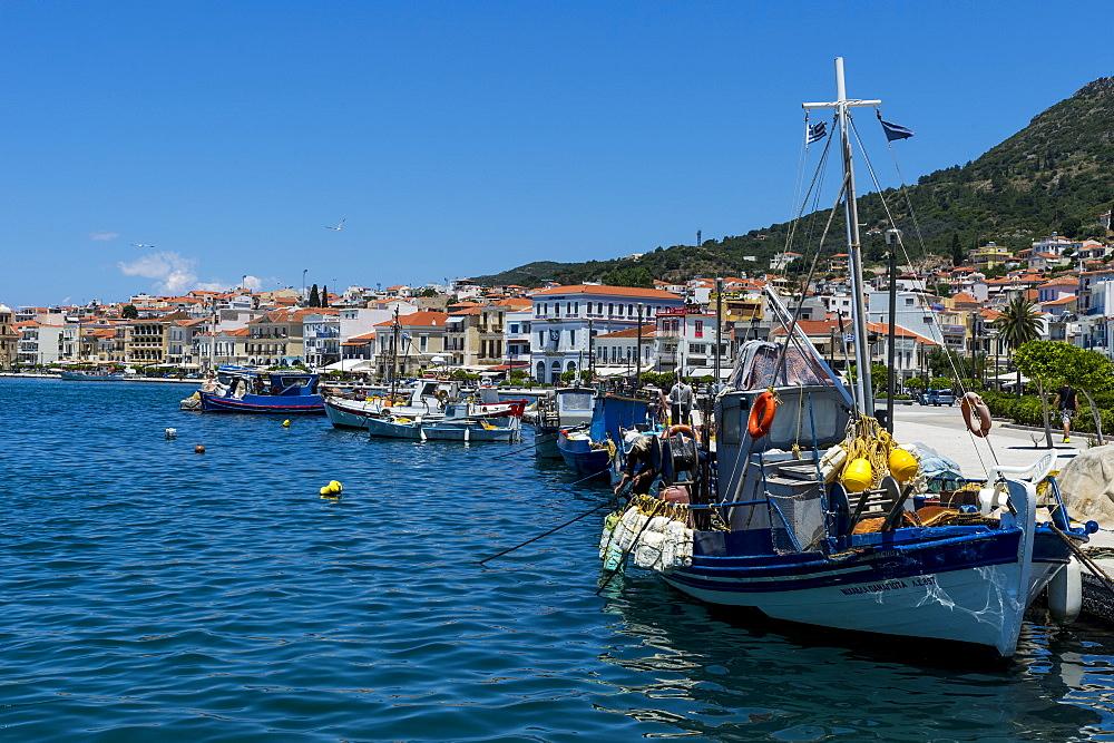 Fishing harbour, Samos town, Samos, Greek Islands, Greece, Europe