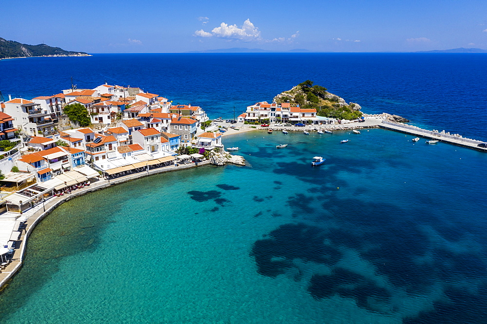 Aerial by drone of Kokkari and its pebble beach, Samos, Greek Islands, Greece, Europe