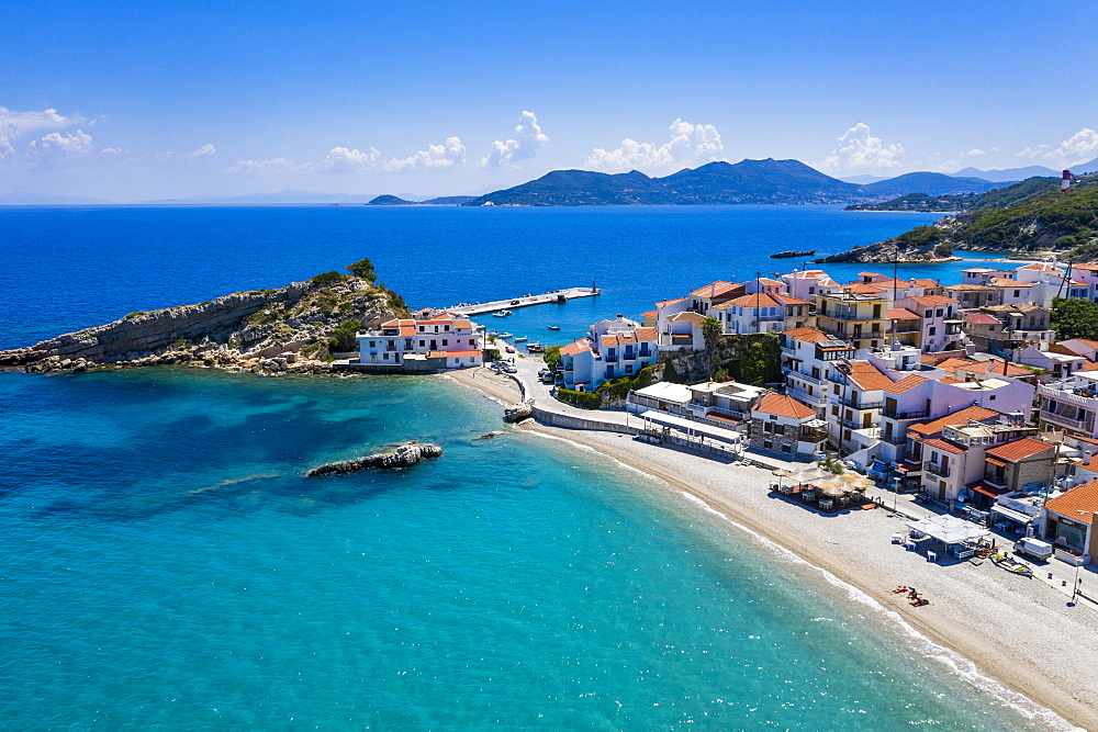 Aerial of Kokkari and its pebble beach, Samos, Greece (drone) - 1184-4479