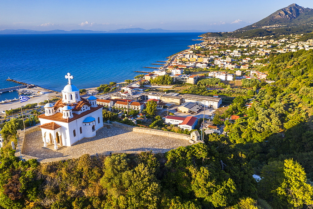Aerial of Agia Triada church, , Paleo Karlovasi, Samos, Greece (drone) - 1184-4480